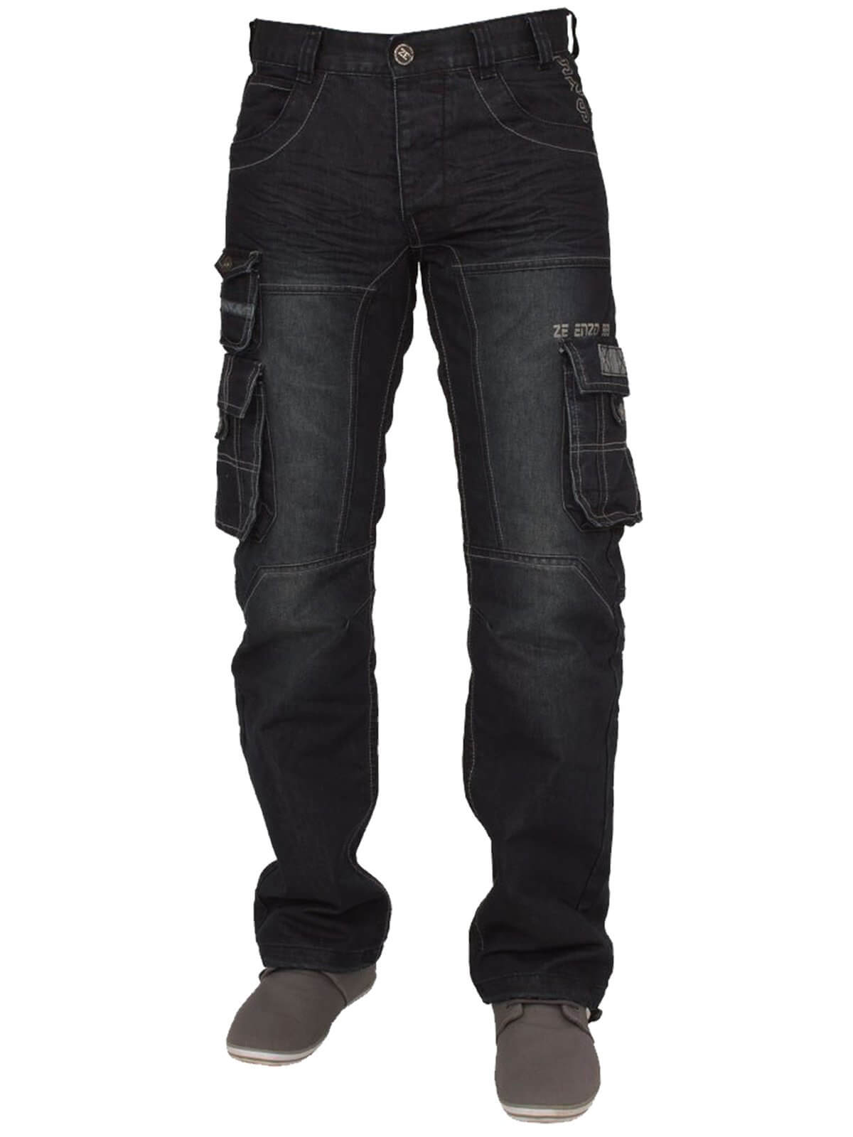 Clearance | Mens Dark Wash Combat Denim Jeans EZ319 | Enzo Designer Menswear