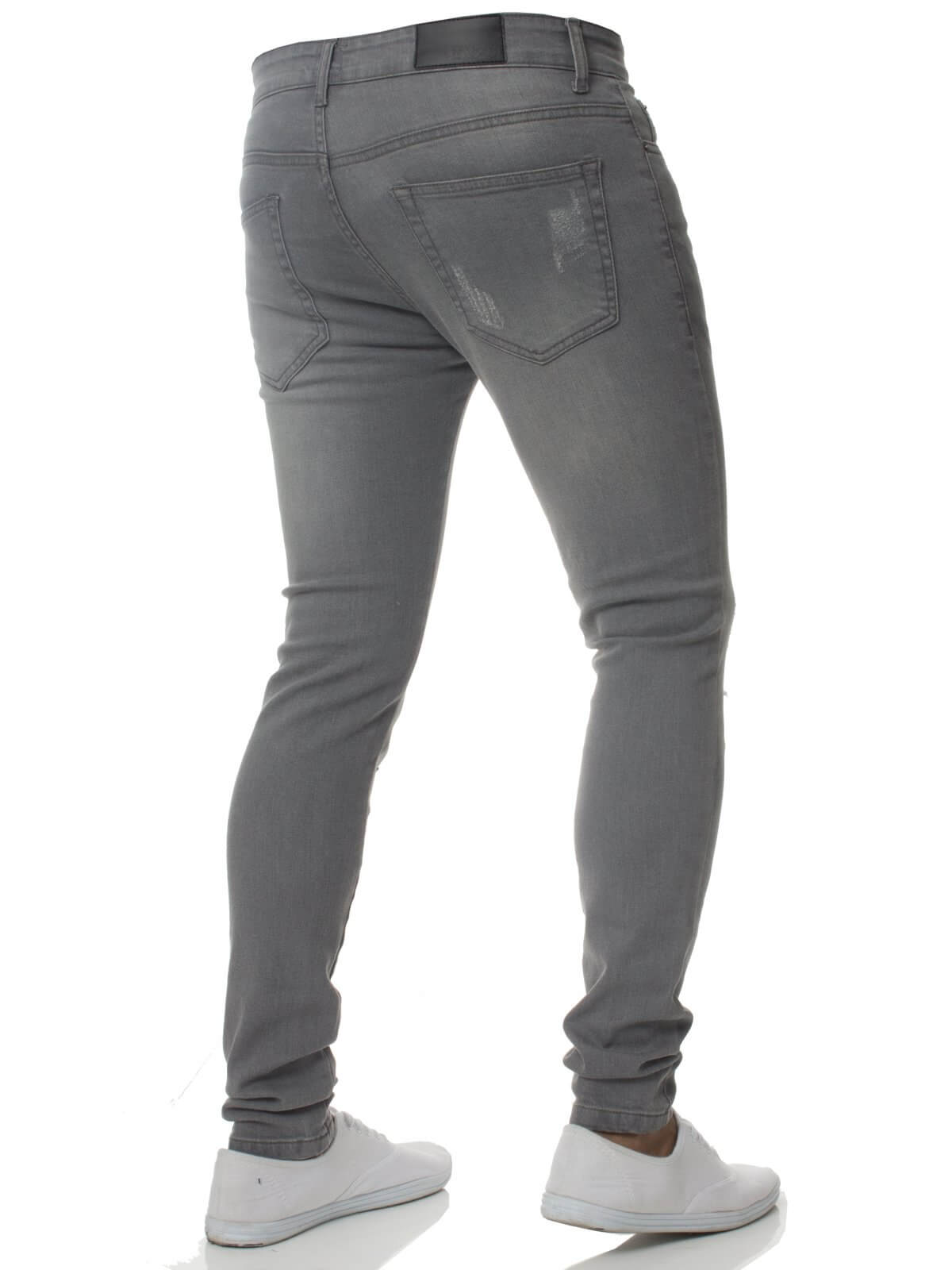 Mens Denim Ripped Denim Jeans Grey | Enzo Designer Menswear