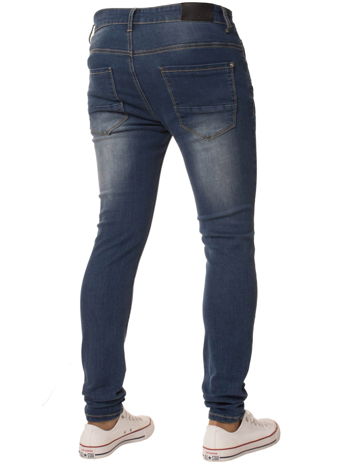 Clearance | Mens Super Skinny Stretch Ripped Denim Jeans Mid Stonewash | Enzo Designer Menswear