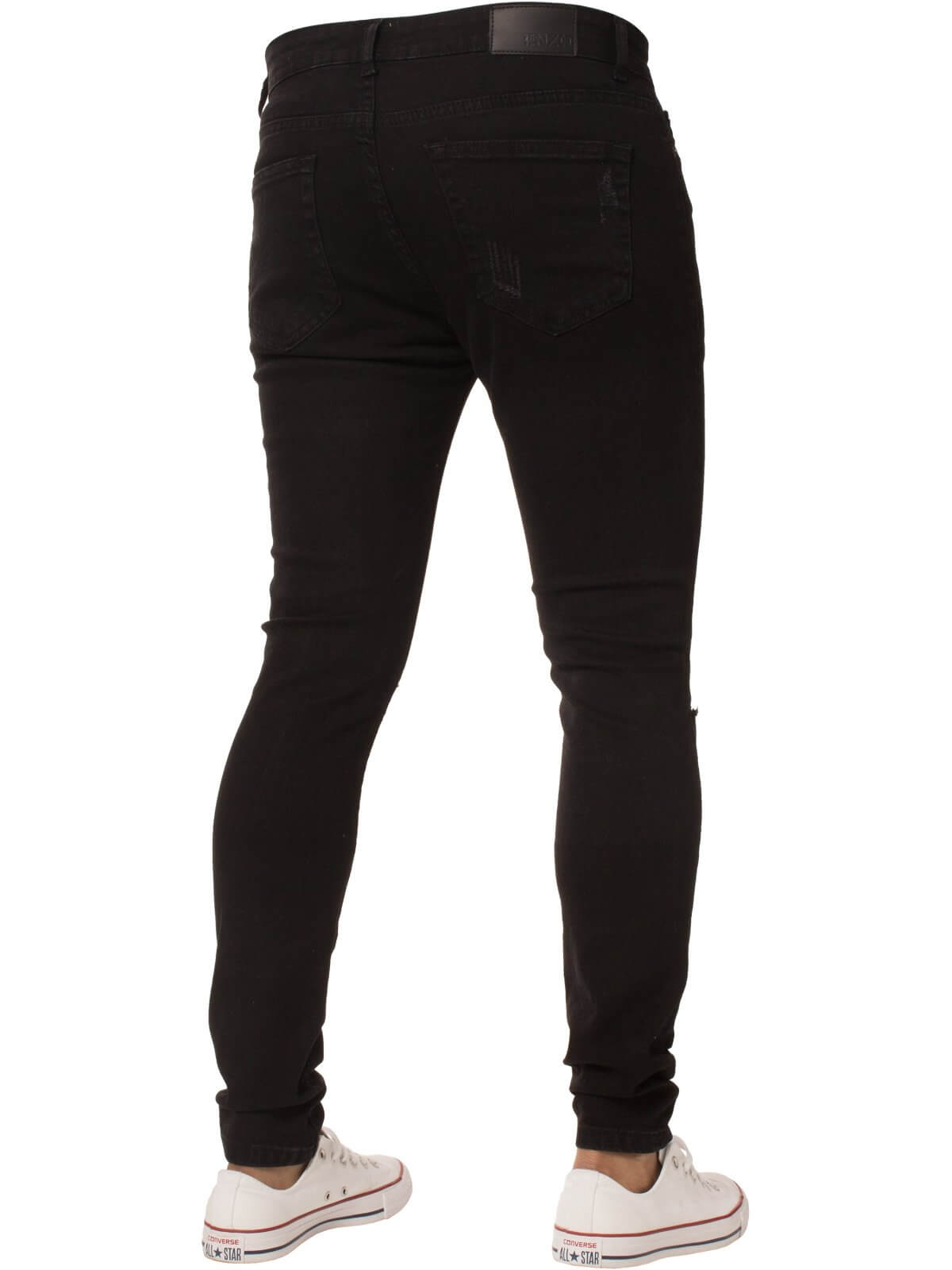 Mens Super Skinny Stretch Ripped Denim Jeans | Enzo Designer Menswear