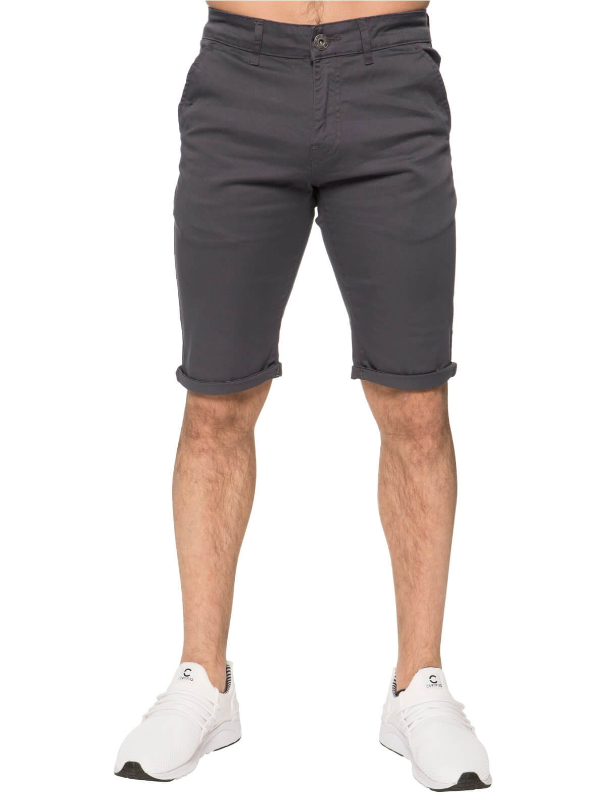 Mens Grey Casual Chino Shorts | Enzo Designer Menswear