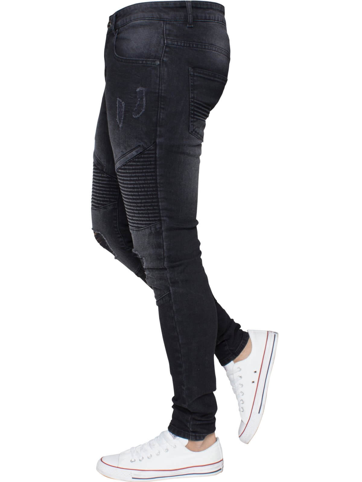 Mens Black Designer Ripped Biker Jeans Super Skinny Stretch Denim | Enzo Designer Menswear
