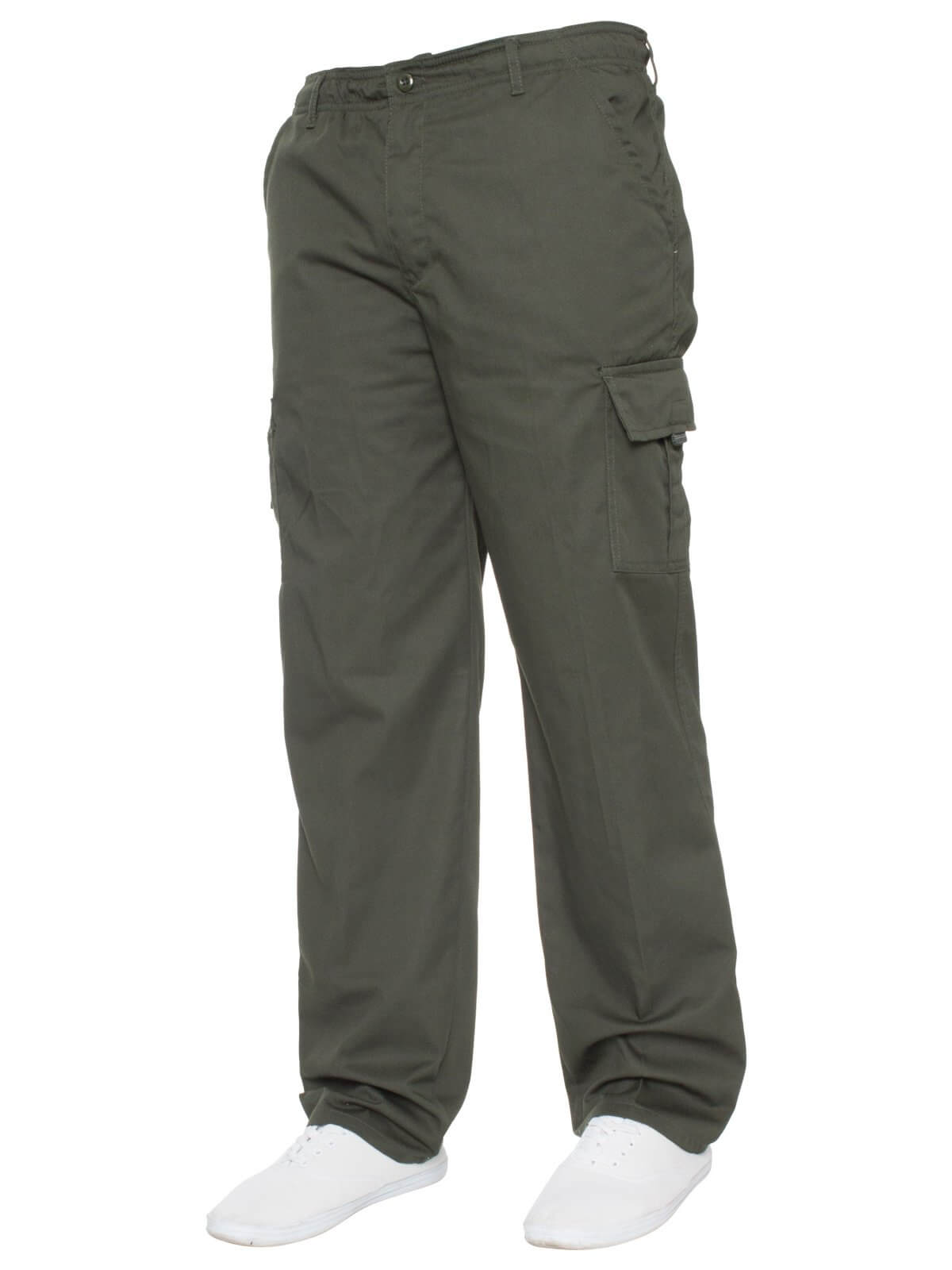 Kruze | Mens Elasticated Designer Cargo Combat Chino Trousers