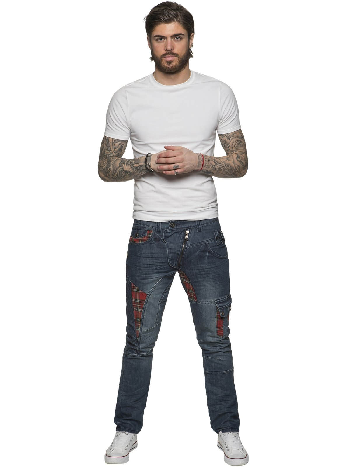 ETO | Designer Mens Blue Tapered Fit Denim Jeans