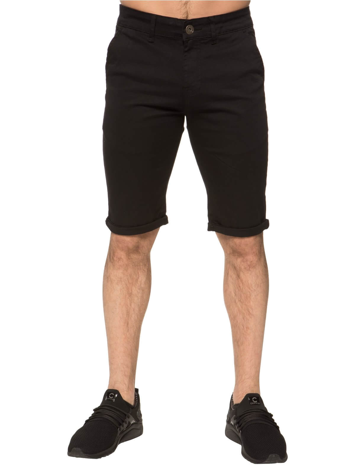 Mens Black Casual Chino Shorts | Enzo Designer Menswear