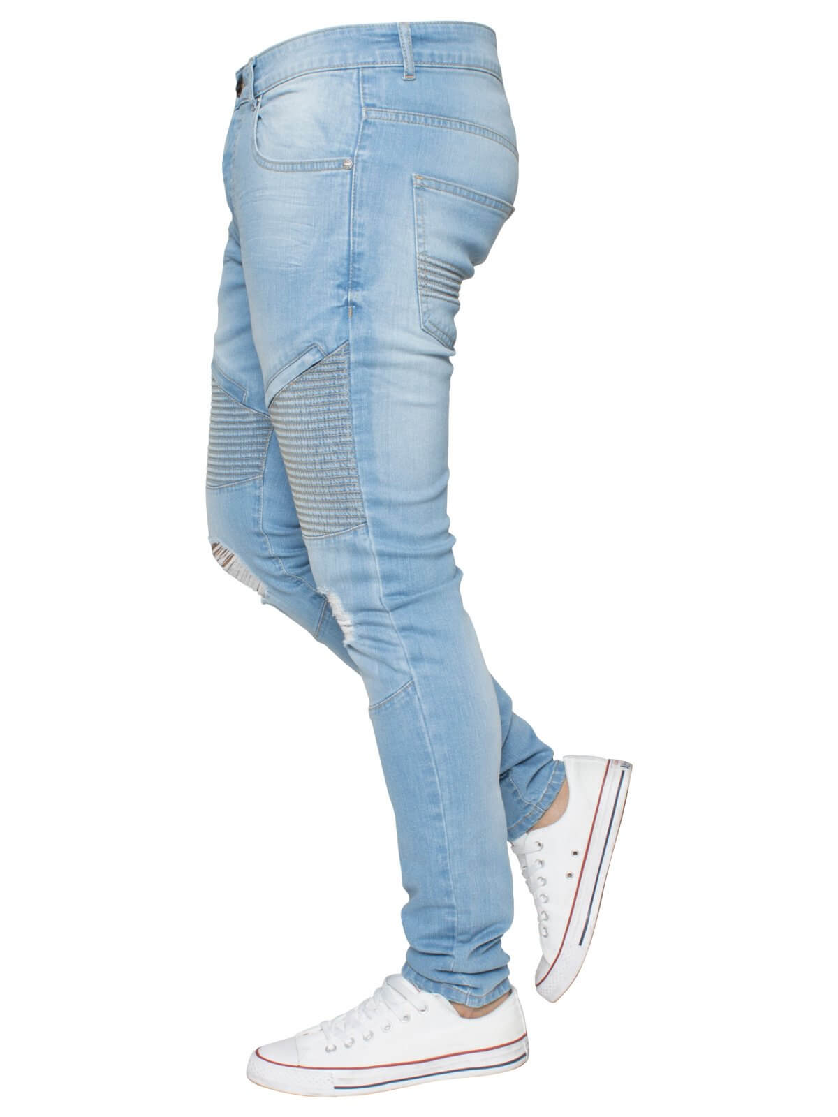 Mens Light Blue Designer Ripped Biker Jeans Super Skinny Stretch Denim | Enzo Designer Menswear