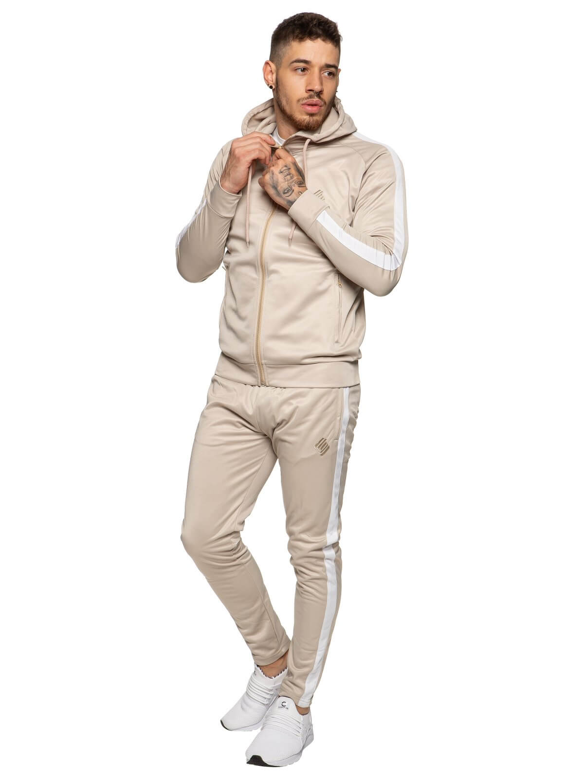 Mens Zip Through Full Stone Tracksuit Set | Enzo Designer Menswear