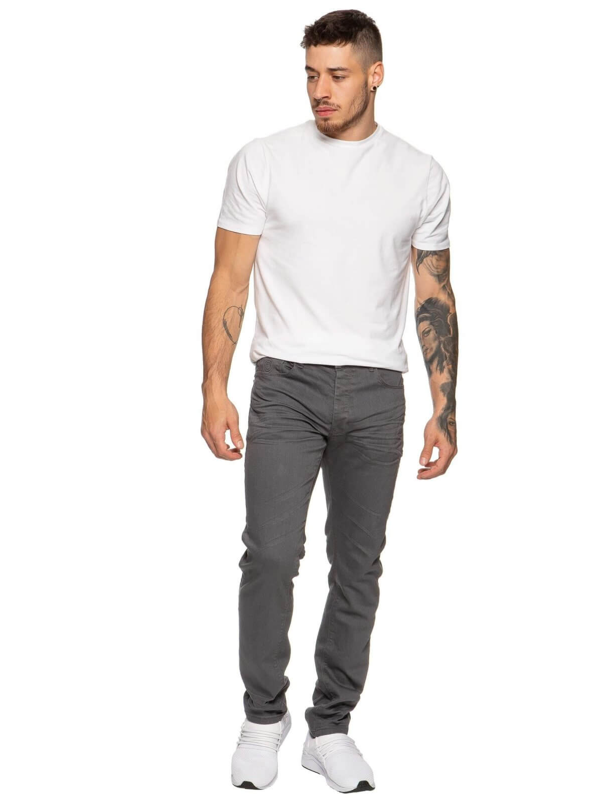 ETO | Designer Mens Tapered Fit Grey Stretch Denim Jeans