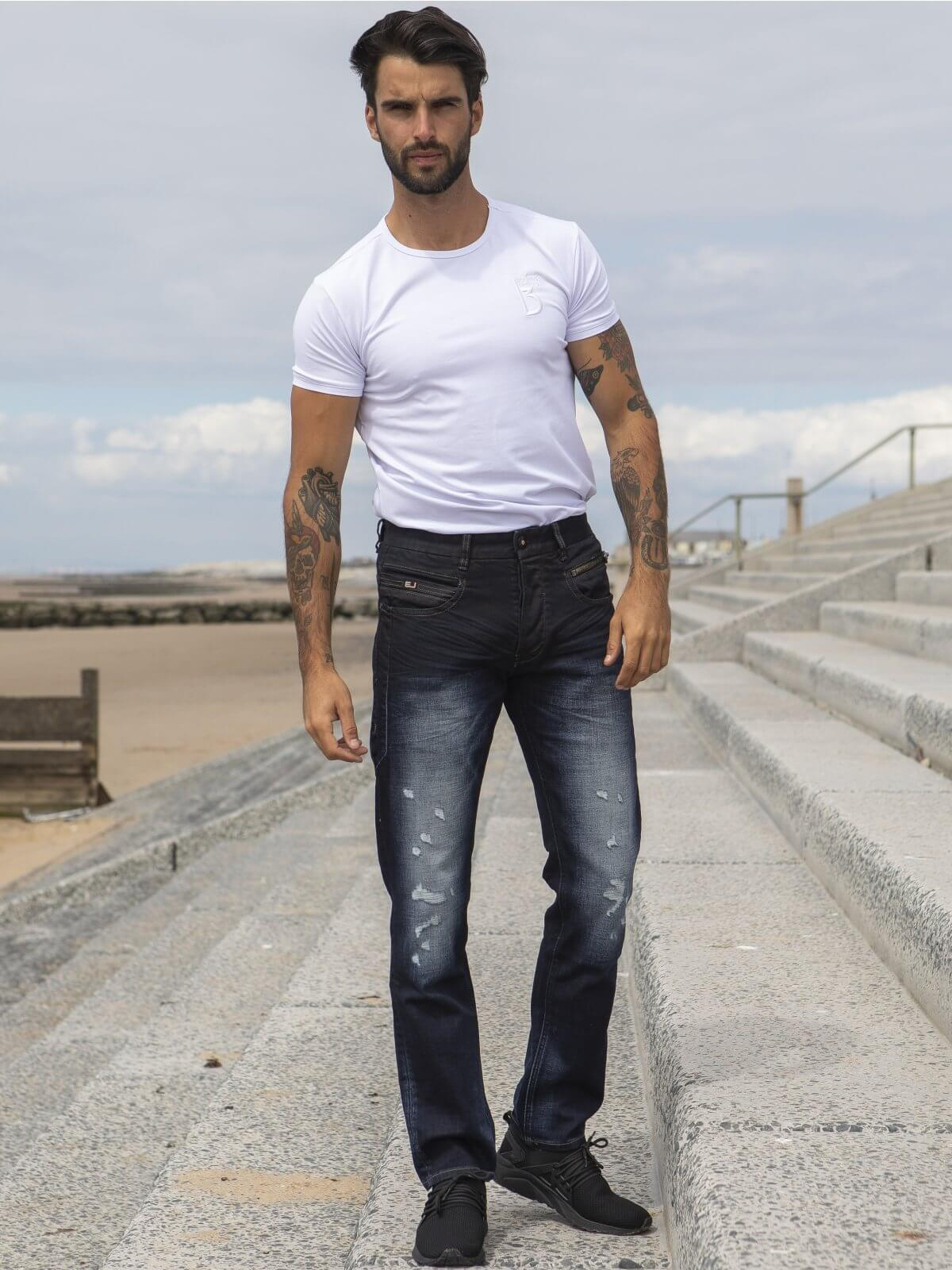 ETO | Designer Mens Tapered Fit Dark Blue Denim Jeans