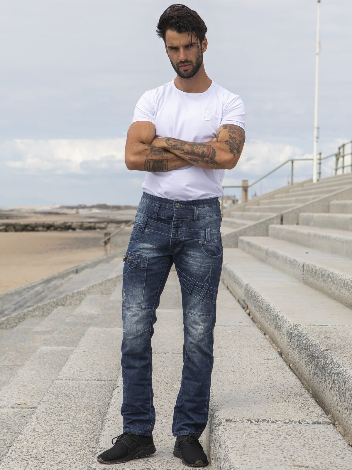 ETO | Mens Designer Blue Tapered Fit Denim Jeans