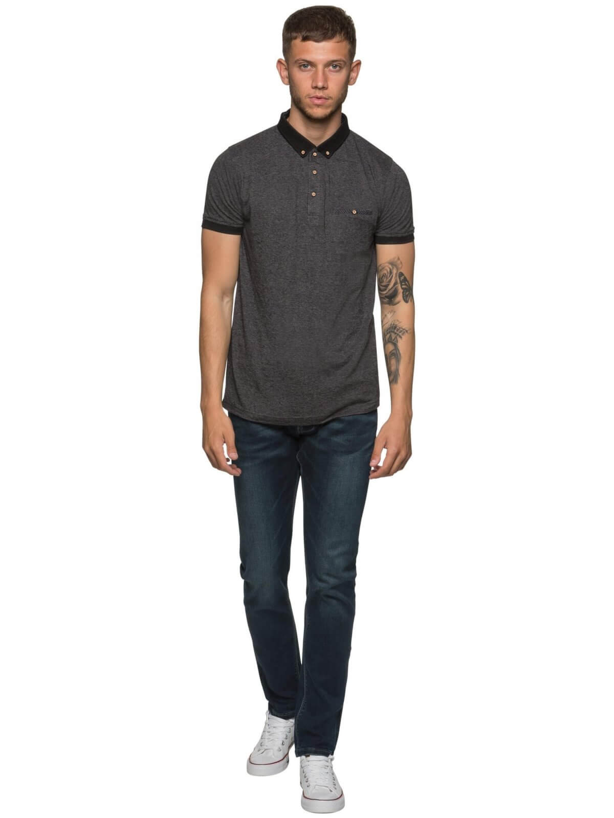 ETO Clearance | Designer Mens Charcoal Polo T-Shirt
