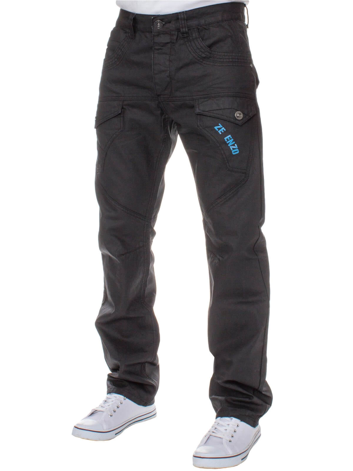 Mens Regular Fit Black Coated Denim Jeans | Enzo Designer Menswear