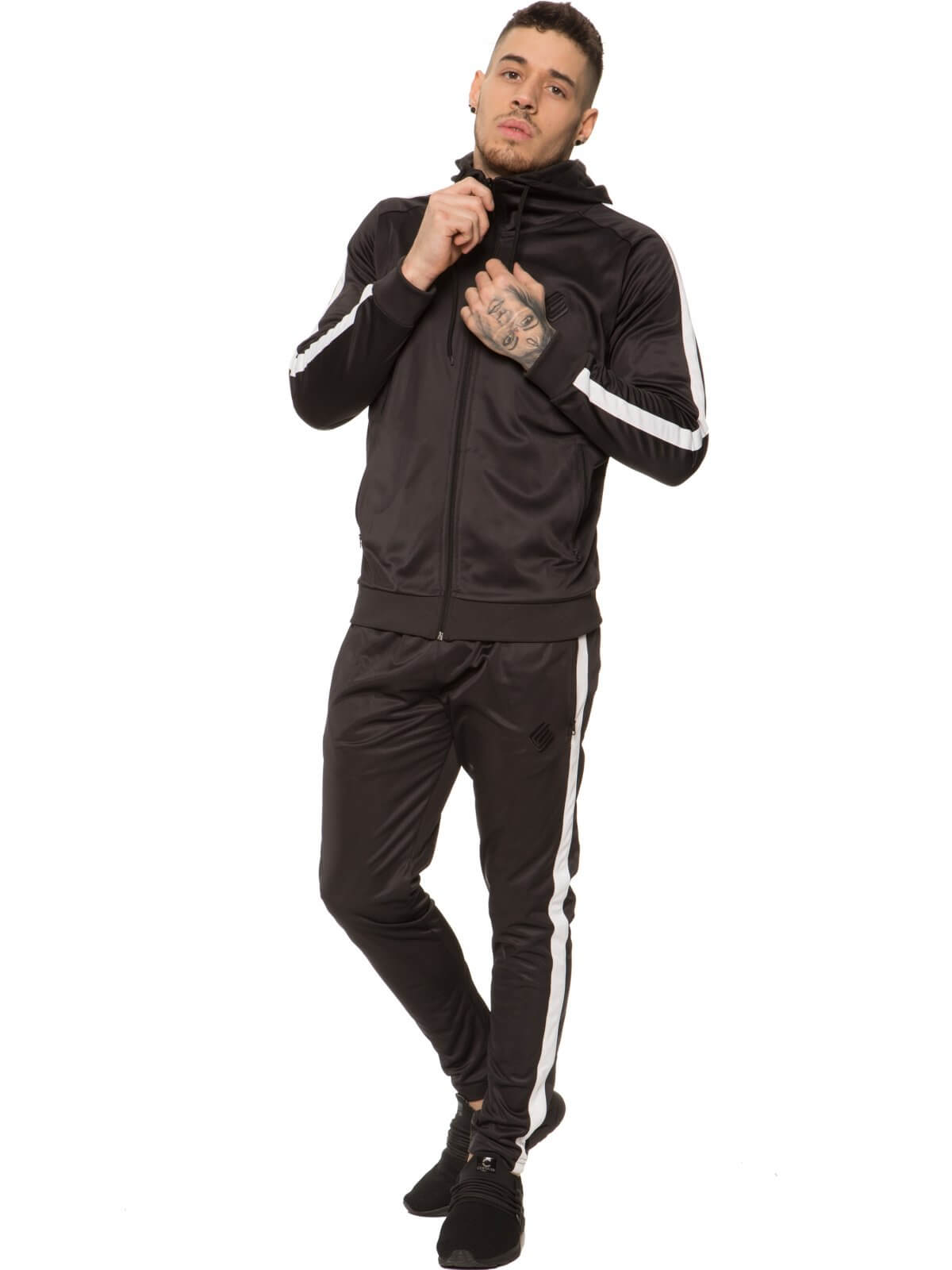 Mens Zip Through Full Black Tracksuit Set | Enzo Designer Menswear