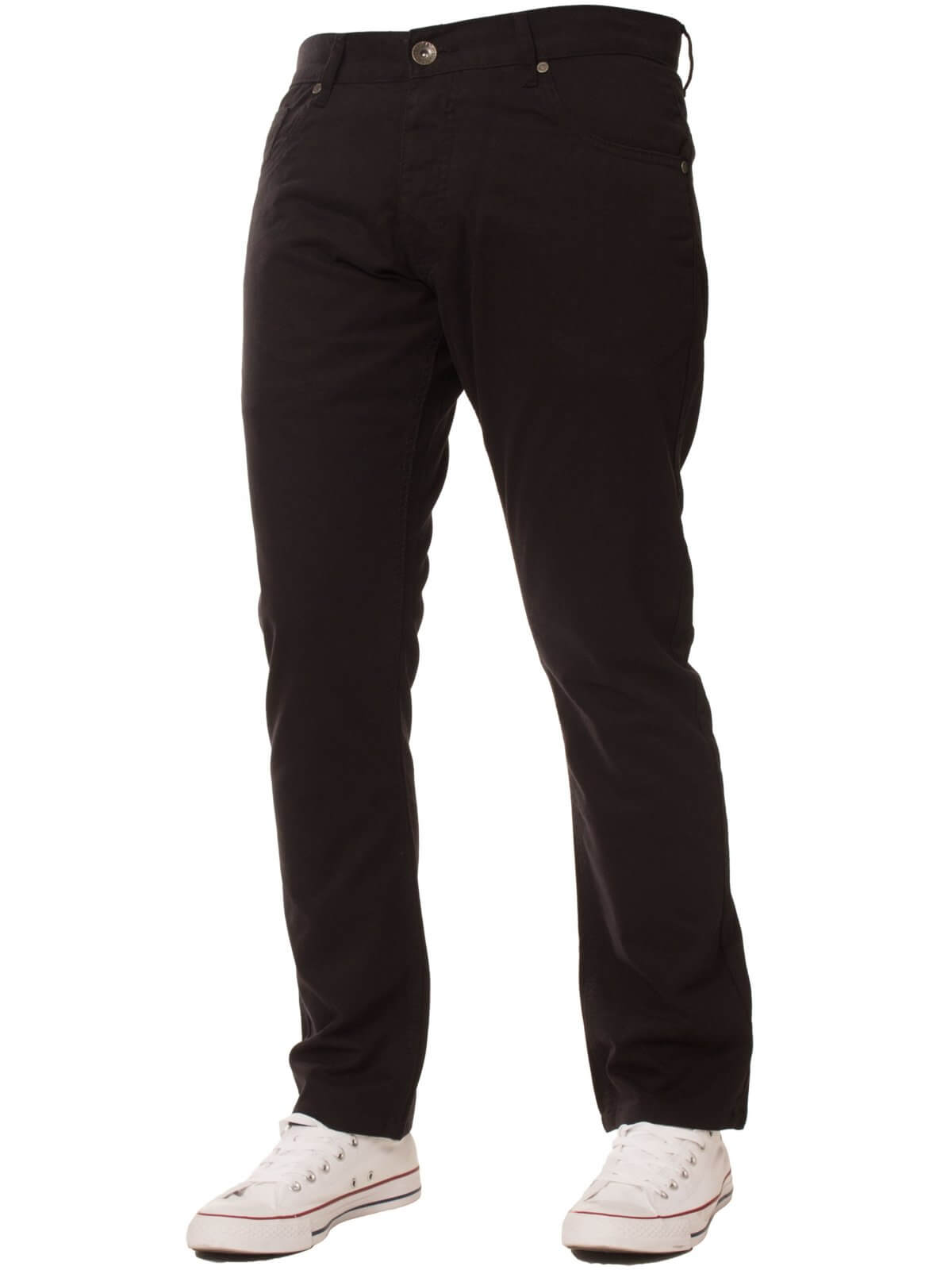 Mens Slim Fit Black Chino Pants | Enzo Designer Menswear