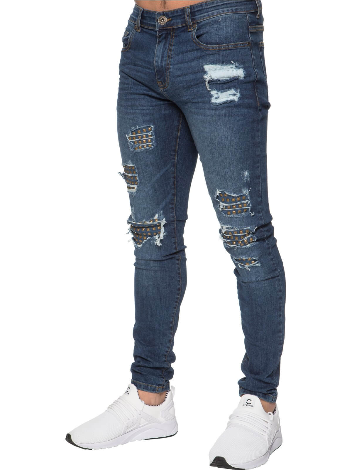 Clearance | Mens Blue Skinny Stretch Denim Jeans Featuring Stud Details | Enzo Designer Menswear